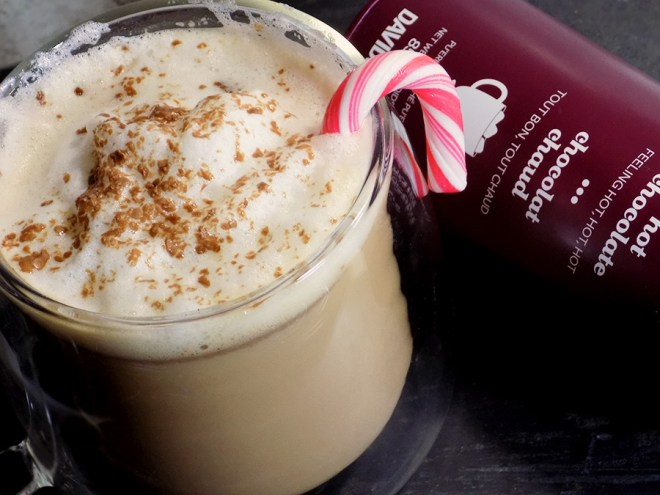 DAVIDsTEA Hot Chocolate Tea Latte Recipe with Mint Candy Cane