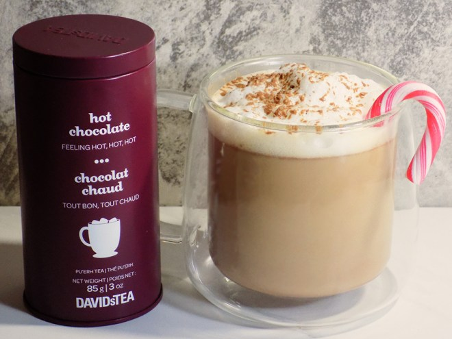 DAVIDsTEA Hot Chocolate Tea Latte Recipe with Mint Candy Canes