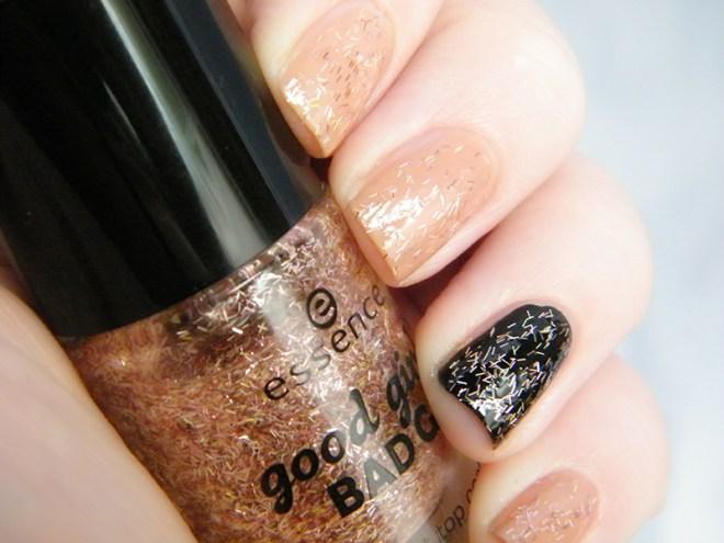 Essence Hello Sweetheart Swatch Glitter Effect Topcoat Good Girl Bad Girl