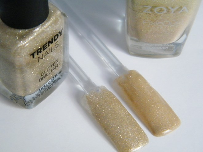 thefaceshop the face shop Trendy Nails Glitter GLI006 vs Zoya Godiva dupe