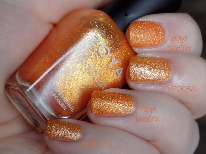 zoya beatrix pixie dust vs mariposa orange glitter dupe