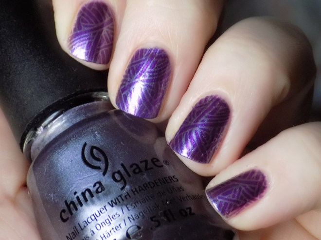 China Glaze Avalance Nail Art - Stamped