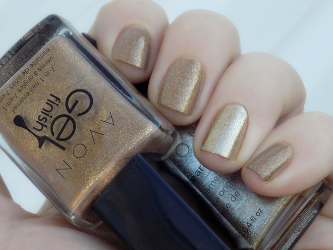 Avon Gold Nailwear Pro Golden Vision vs Glimmer Gel Finish Comparison