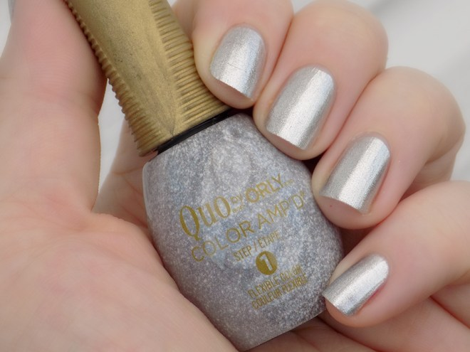 Quo by Orly Color Ampd Best Dressed Silver Foil Nail Polish Swatches Review