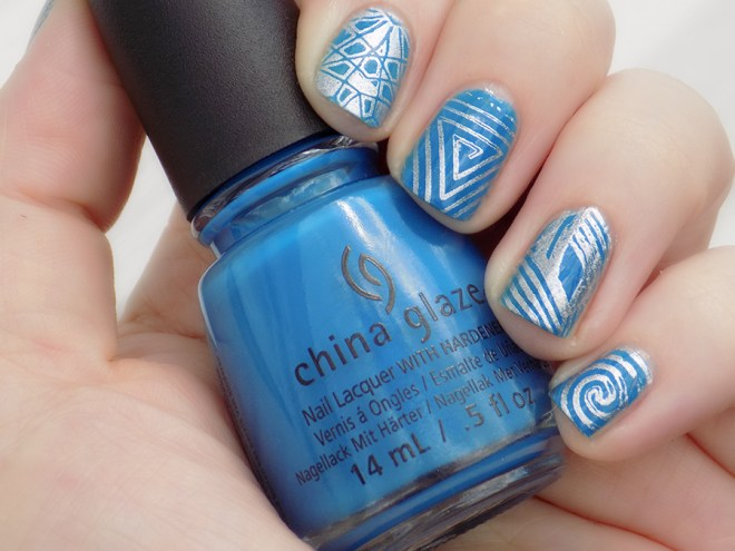China Glaze License & Registration Pls Nail Art Blue and Silver Swatch