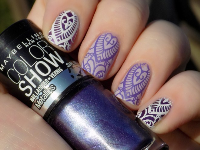 31dc2016 violet nails stamped purple nails maybelline sally hansen