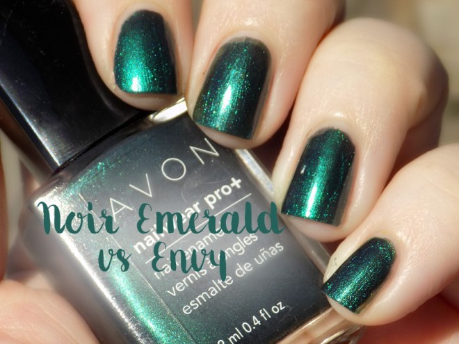 Avon Fall Trends - Nailwear Pro Noir Emerald vs Gel Finish Envy Comparison