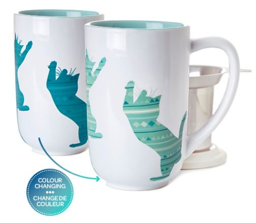 Davids Tea Playing Cat Scratch Colour Changing Nordic Mug