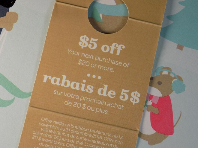 2016 DavidsTea Advent Calendar - $5 off $20 Coupon - Extra Surprise Gift Details