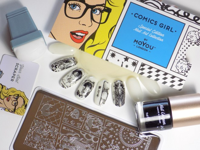 MoYou London Comics Girl 05 Starter Set Review plus Swatches- Trade Secrets Nail Stamping Canada
