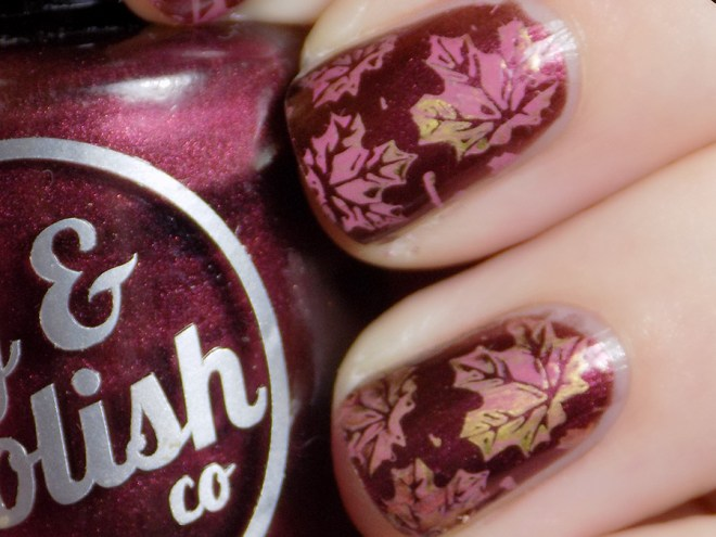 Joy and Polish Spiced Plum stamped with BPL024 Leaves and Mdu Gold Copper and Merry Leaves Nail Art