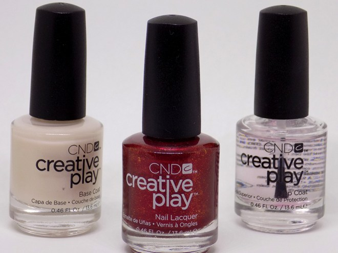 CND Creative Play - Crimson Like It Hot Review and Swatches - Base and Top Coat