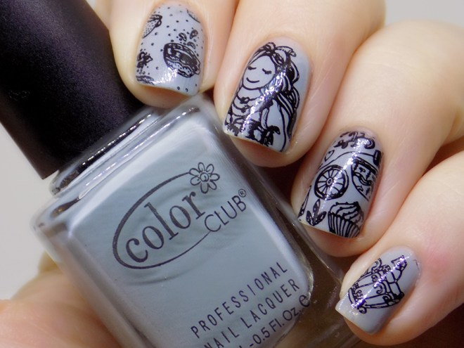 Tea Themed Nails with Color Club Silver Lake and Messy Mansion MM62 Stamping Plate