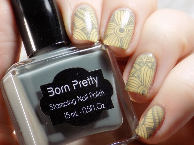Born Pretty BP-115 Stamping Plate Grey Stamping Polish - Color Club Leaf Me Alone - Swatches 1