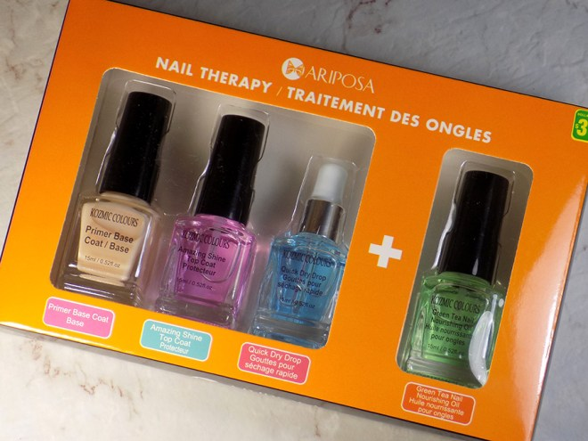 Mariposa Kozmic Colours Nail Therapy Set - Orange Packaging including Base coat, Top Coat, Quick Dry Drops and Nourishing Oil