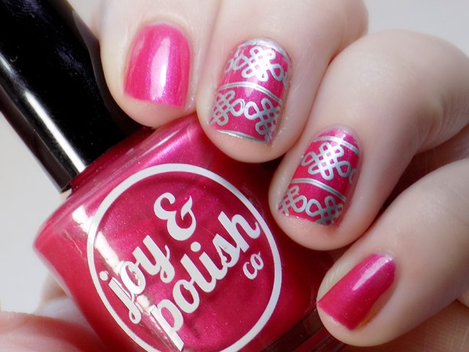 Joy and Polish Pink About It - Stamped Swatch