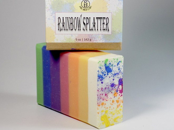 Small Batch Soaps - Canadian Indie - Rainbow Splatter Soap Review