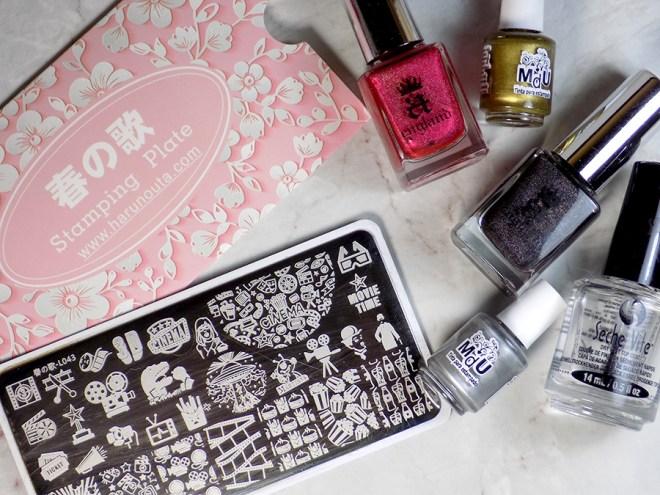 Movie Night Nails - Harunouta L043 Born Pretty - Plate and Polishes