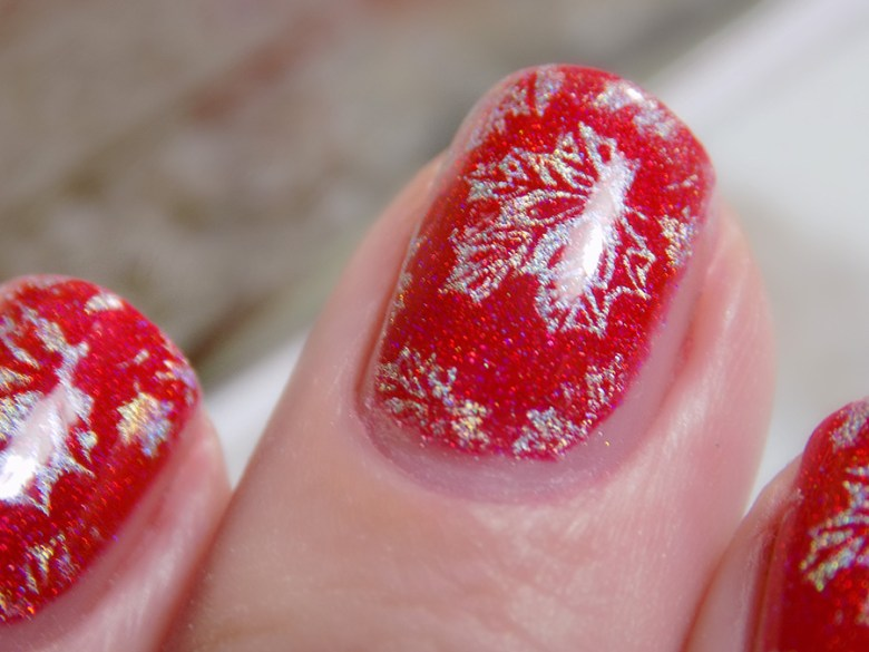 Colors by LLarowe Oh Canada - Stamped with Hit The Bottle Holo There Beautiful - Canada Day Nails - IEC - Macro