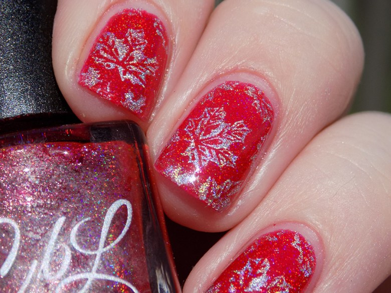 Colors by LLarowe Oh Canada - Stamped with Hit The Bottle Holo There Beautiful - Canada Day Nails - IEC - Sunlight Closeup