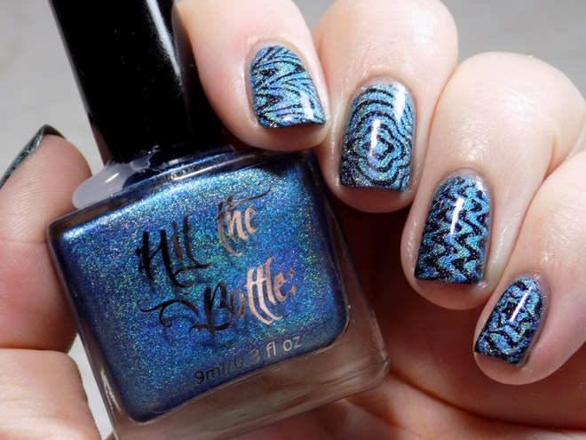 Hit The Bottle Hololulu Blue over CbL Can We Have Trudeau BP-L050 Watermarble Stamping Holo Stamping - Full Swatch