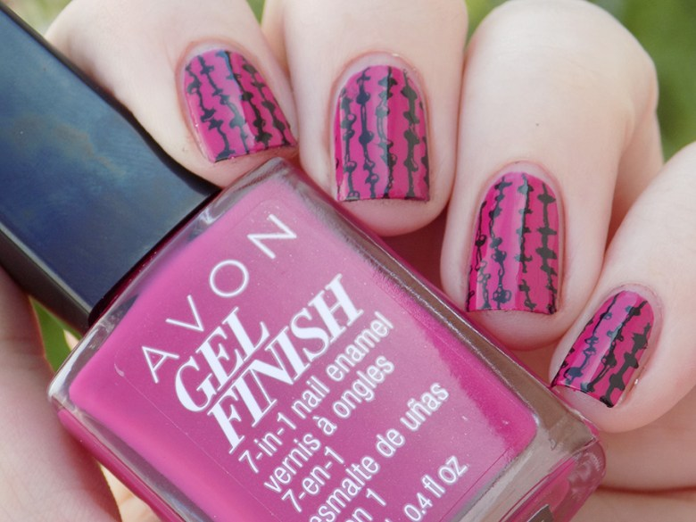 Avon Gel Finish Rose Noir Nail Polish Swatch stamped with XYZ26 plate - Natural Shade