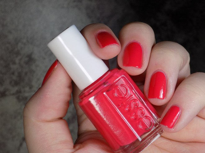 Essie Eclair My Love - Summer 2017 - Swatch full hand showing red leaning artificial light