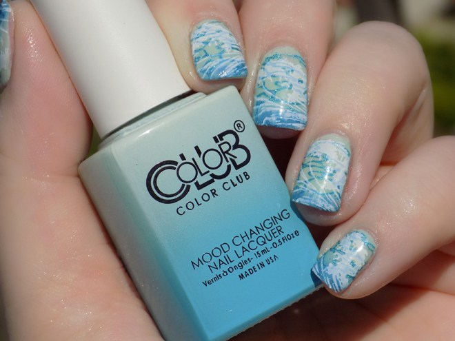 Color Club Extra Vert Sea Themed Nails Transition