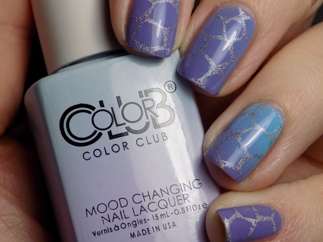 Color Club Mood Polish Blue Skies Ahead Stamped with BM-XL17 swatch