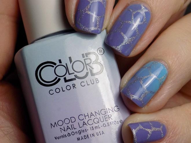 Color Club Mood Polish Blue Skies Ahead Stamped with BM-XL17 swatch