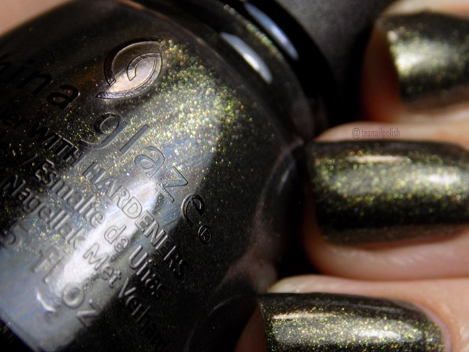 China Glaze Life's Grimm Swatches - Closeup Showing Green Gold