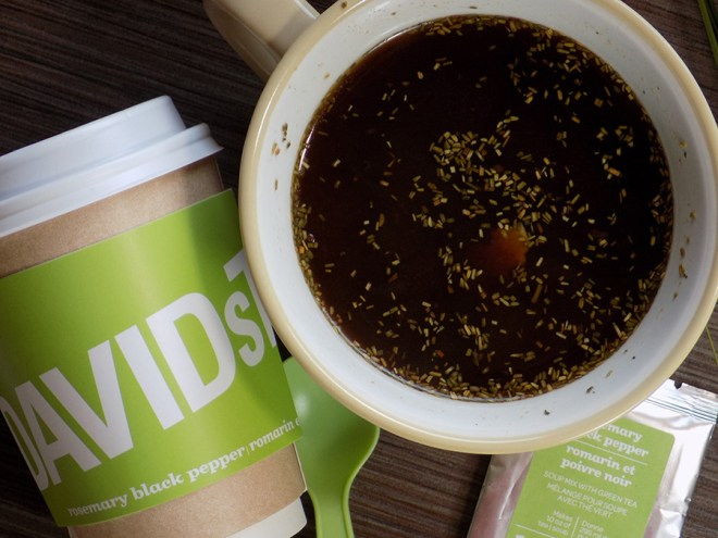 Davidstea Rosemary Black Pepper Soup Tea - Brewed with rice and ham added - with packaging