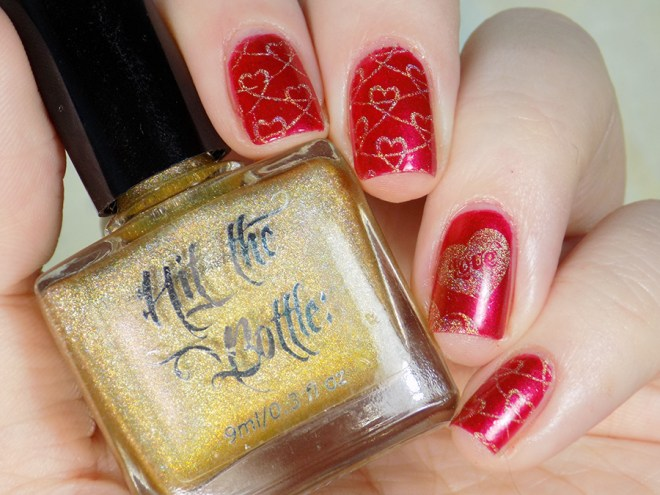 Fiendish Fancies Sleep Eludes Me - Hit The Bottle Glint of Gold - Valentines Day Nails Swatches and Review