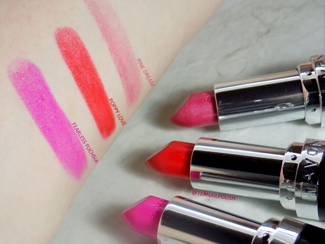 Avon Share The Power of Lipstick - Swatches of Poppy Love - Fearless Fuchsia - Pink Dream