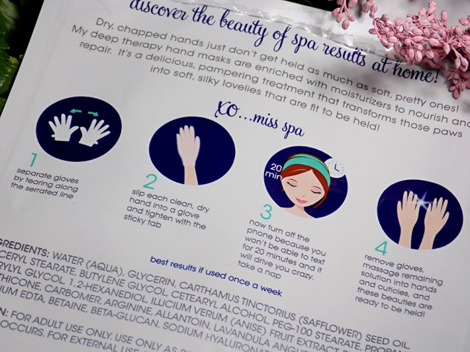 Miss Spa Deep Therapy Glove Hand Masks Instructions