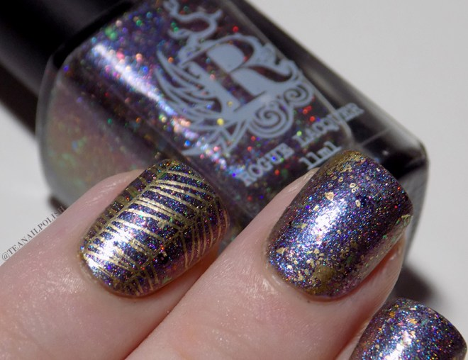 Rogue Lacquer Girly Bits Swatches and Gold Accent Stamping