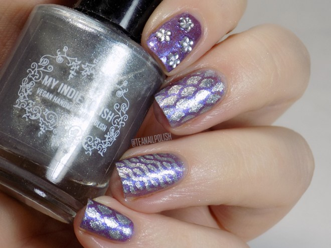 Sassy+Chic Nail Stencils with Fiendish Fancies Shapeshifter and My Indie Polish Liquid Chrome