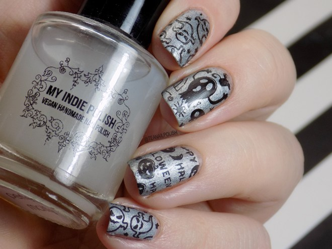 Halloween Nails - Alter Ego Silver Lining - Hit the Bottle Black - My Indie Polish My Perfect Matte