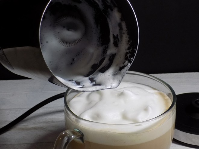 Chef Star Milk Frother Review - Poured Milk Froth