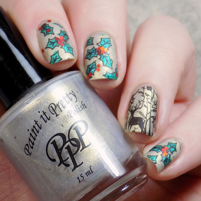 Holly and Deer Christmas Manicure CBBxManiMonday Matte SQ