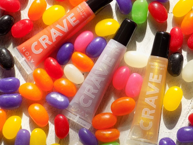 Avon Crave Lip Glosses Reviews - Honey Tea - Cucumber Spritzer - Peach Bellini