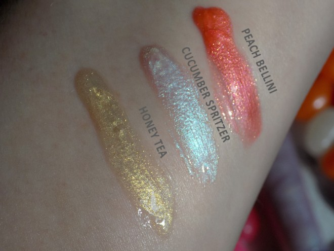 Avon Crave Lip Glosses Reviews Swatches - Honey Tea - Cucumber Spritzer - Peach Bellini