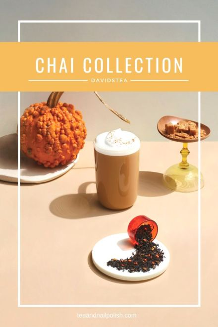 A sneak peek at the DAVIDsTEA Chai Collection 2019: David's Chai, Maple Chai, Pumpkin Chai, Smores Chai, Cinnamon Rooibos Chai & Pumpkin Pie Matcha