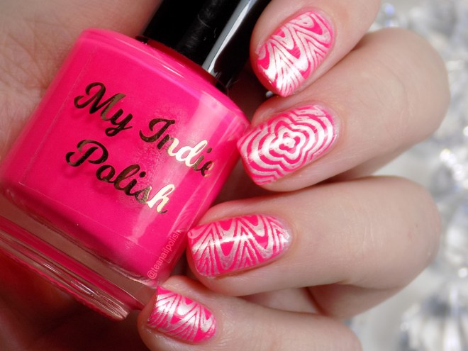 My Indie Polish Neon Pink Swatches stamped with Liquid Chrome