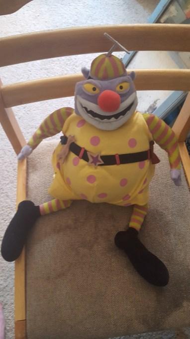 Creepy clown doing his creep thing.