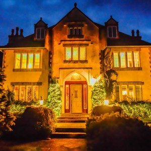 Willowbrook Manor English Tea House lit with Christmas lights