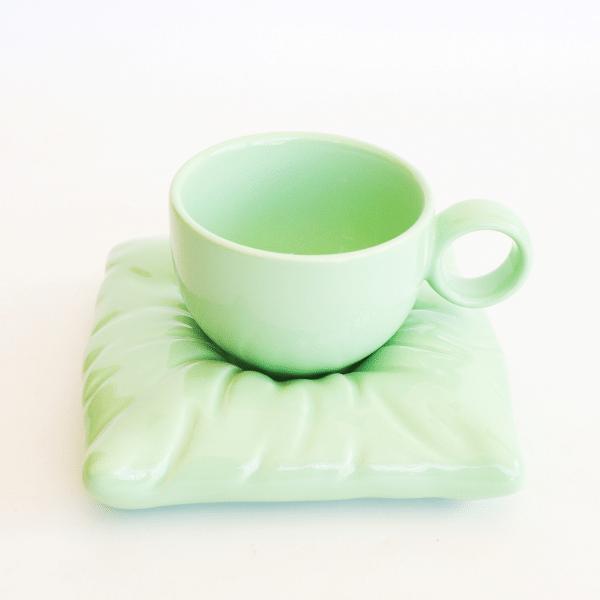 Pillow cup and saucer light green