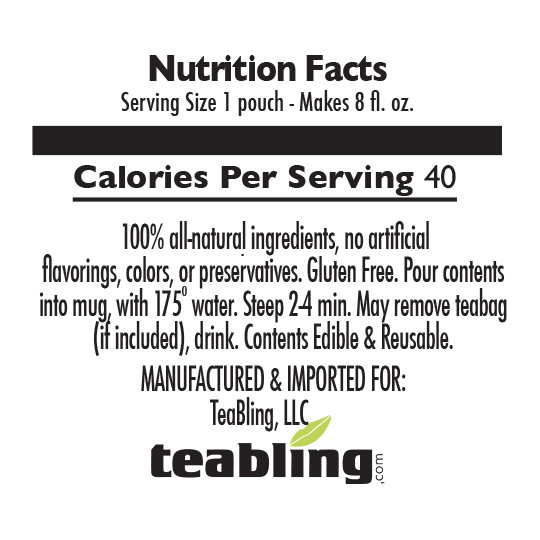 Nutrition Label: With Sugar | No Caffeine
