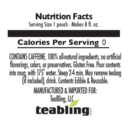 Nutrition Label: No Sugar | With Caffeine