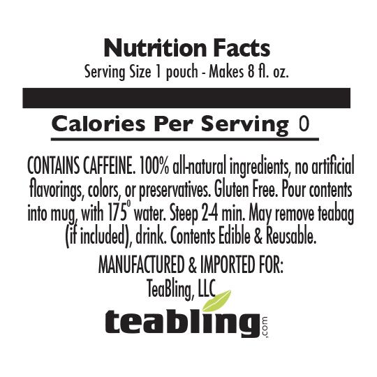 Nutrition Label: No Sugar | With Caffeine